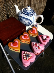 Decorated cake hearts