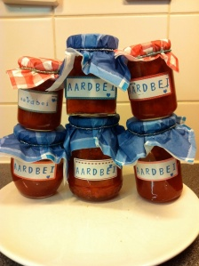 Home made jam with home made label
