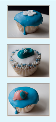 Blue and white baby cupcakes!