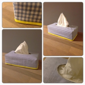A double sighted tissue box cover
